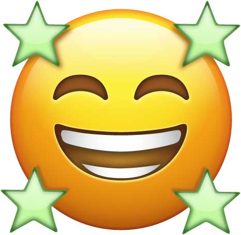 Smiling Face with Smiling Eyes and Four Stars
